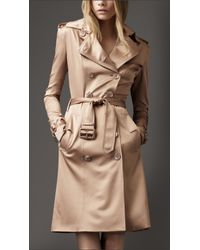 Burberry - Natural Silk Satin Trench Coat - Lyst