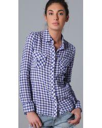 C&C California - Blue Gingham Check Roll Sleeve Pocket Shirt - Lyst