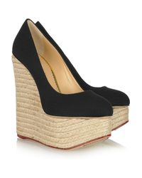 Charlotte Olympia | Black Carmen Textured Cotton Espadrille Wedge Pumps | Lyst