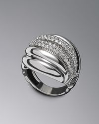 David Yurman | Metallic Pave Diamond Sculpted Cable Ring | Lyst