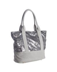 Deux Lux | Metallic Gunmetal Grey Sequined Canvas Ipanema Tote | Lyst