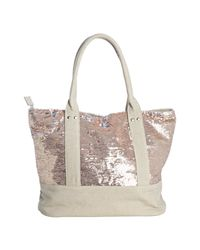 Deux Lux - Pink Rose Gold and Beige Sequined Canvas Ipanema Tote - Lyst