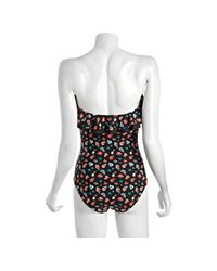 DKNY   Black Floral Print Ruffle One-piece Convertible Bandeau Maillot   Lyst