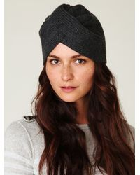 Free People | Black Knitted Turban Beanie | Lyst