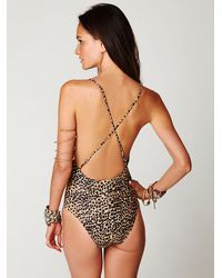 Free People Multicolor Embroidered Twist Cheetah Onepiece