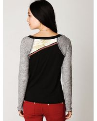 Free People - Gray Long Sleeve Mixed Graphic Baseball Tee - Lyst