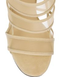 Gucci | Natural Mesh and Suede Sandals | Lyst