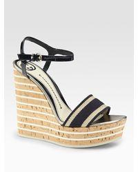 Gucci   Black Vintage Web Wedge Sandal   Lyst