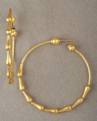 Gurhan - Metallic Spring Drop Hoop Earrings - Lyst