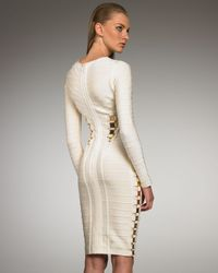 Hervé Léger - Metallic Accented Long-sleeve Bandage Dress - Lyst