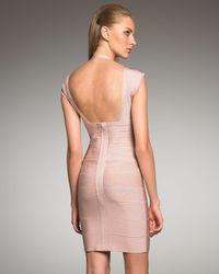 Hervé Léger | Pink Halter-Strap Bandage Dress | Lyst