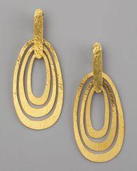 Herve Van Der Straeten Metallic Triple-ellipse Clip Earrings