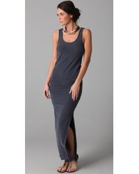 James Perse | Gray Side Split Long Tank Dress | Lyst
