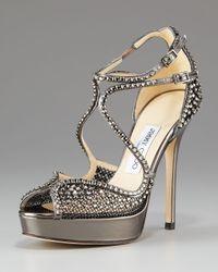 Jimmy Choo | Gray Crystal-mesh Platform Sandal | Lyst