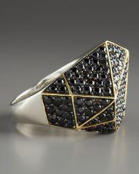 Kara Ross - Pave Sapphire Geometric Ring, Black - Lyst