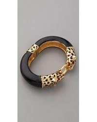 Kenneth Jay Lane - Black Double Leopard Head Bracelet - Lyst