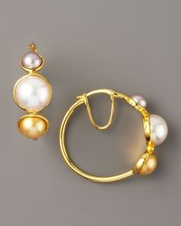 Majorica | Metallic Pearl Station Gold Hoop Earrings | Lyst