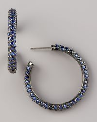 M.c.l  Matthew Campbell Laurenza | Blue Pave Sapphire Hoop Earrings, Small | Lyst