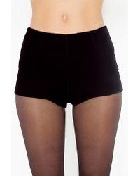 Nasty Gal - Black Velvet Tap Shorts - Lyst