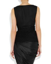 Oscar de la Renta | Black Silk-chiffon and Lace Top | Lyst