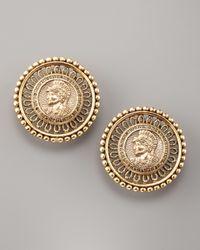 Oscar de la Renta - Metallic Coin-portrait Button Earrings - Lyst