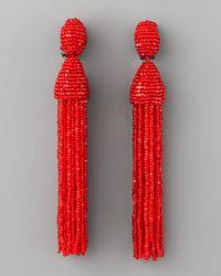 Oscar de la Renta | Beaded Tassel Earrings, Red | Lyst