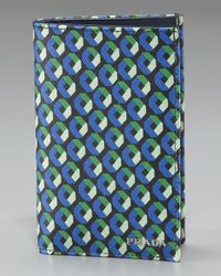 Prada | Blue Printed Saffiano Bifold Wallet for Men | Lyst