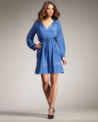 Rebecca Taylor | Blue Silk Peasant Dress | Lyst