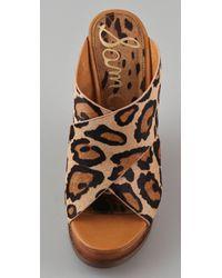 Sam Edelman | Multicolor Jorgia Haircalf Cutout Wedge Sandals | Lyst