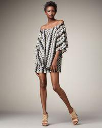 T-bags | Black Zigzag Knit Poncho Dress | Lyst
