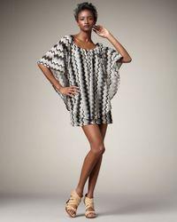 T-bags - Black Zigzag Knit Poncho Dress - Lyst