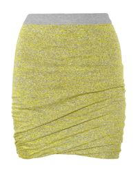 T By Alexander Wang | Green Marled Ruched Skirt | Lyst