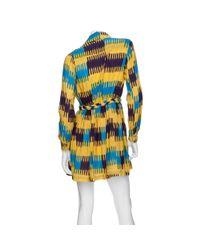Thakoon Addition - Blue Gathered Waist Ikat Print Shirt Dress - Lyst