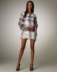 Theyskens' Theory Gray Check Double-Layer Dress