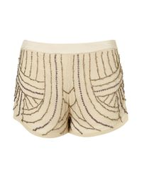 TOPSHOP - Natural Cream Embellished Shorts - Lyst