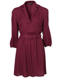 TOPSHOP | Brown Belted Shirt Dress | Lyst