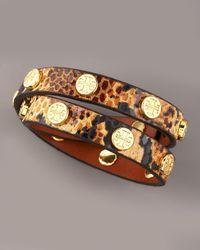 Tory Burch - Brown Logo-studded Bracelet, Animal - Lyst