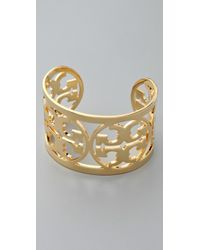 Tory Burch | Metallic Curved Logo Bracelet | Lyst