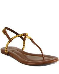 Tory Burch - Aine Thong - Natural Leather Woven Flat Thong Sandal - Lyst