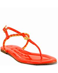 Tory Burch - Aine Thong - Neon Orange Leather Woven Flat Thong Sandal - Lyst