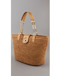 Tory Burch | Brown Straw Turnlock Tote | Lyst