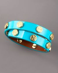 Tory Burch - Blue Logo-studded Bracelet, Turquoise - Lyst