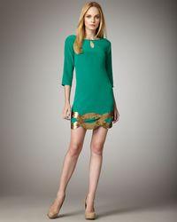 Trina Turk Green Daffodil Sequin-hem Dress