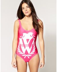 Wildfox | Pink One Piece Swim Suit With Placement Logo Print | Lyst
