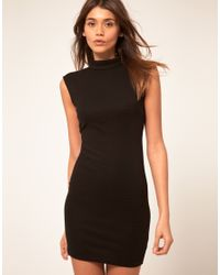 ASOS Collection | Black Asos Mini Dress in Rib with Cut Out Back | Lyst