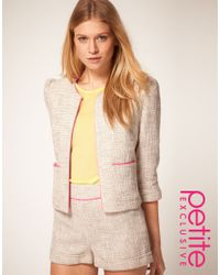 ASOS Collection | Pink Premium Boucle Suit Jacket with Neon Detail | Lyst