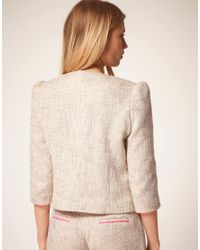 ASOS Collection Pink Premium Boucle Suit Jacket with Neon Detail
