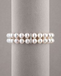 Assael | White Pearl & Diamond Bracelet | Lyst