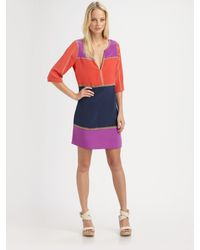 BCBGMAXAZRIA | Purple Aidas Silk Colorblock Dress | Lyst