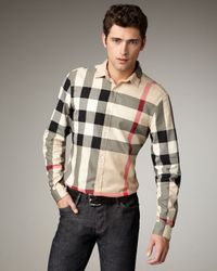 Burberry Brit - Natural Quad-check Woven Shirt for Men - Lyst